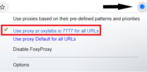 Setting up proxies with FoxyProxy: choose Oxylabs profile