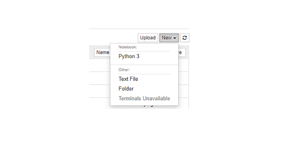 Dropdown menu for creating new Jupyter Notebook